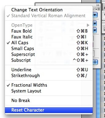 Screenshot of the menu in photoshop showing the reset character option at the bottom of the list